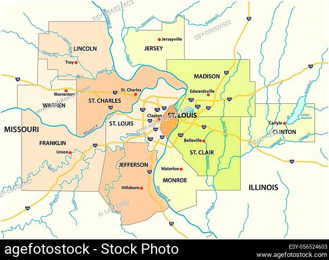map of the greater st. louis area in illinois and missouri usa