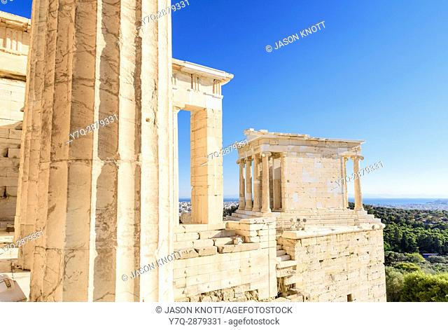Detail of the Propylaea and the Ionic Temple of Athena Nike on the Acropolis, Athens, Greece