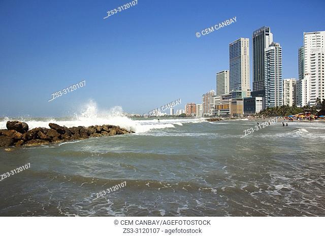 View to the beach and buildings in Boca Grande district, Cartagena de Indias, Bolivar, Colombia, South America