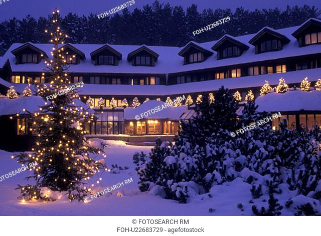 lodge, inn, resort, Trapp Family Lodge, winter, Christmas, X-mas, Xmas, Vermont, The snow covered Trapp Family Lodge is decorated with lights in the evening for...