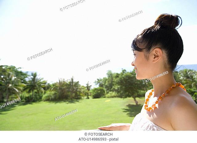 Young Woman looking at the view, Saipan