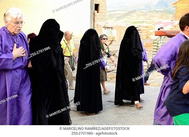 "Women penitents in the procession of the """"Picaos"""" celebration of the Cross September. San Vicente de Sonsierra. La Rioja. Spain, Europe"