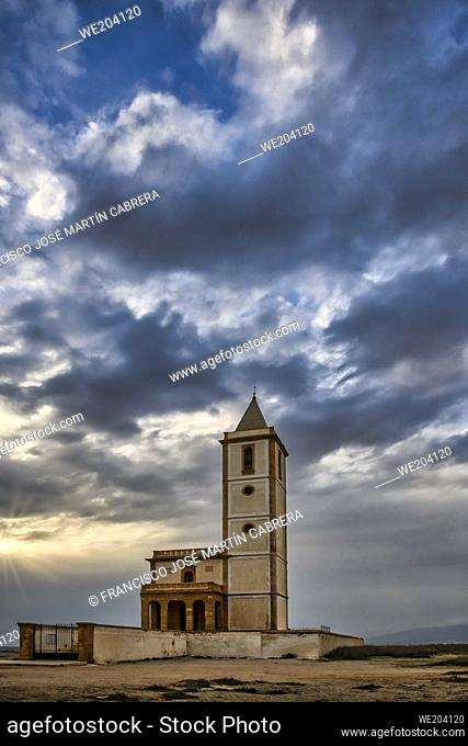 Church of the Salinas between the town of Cabo de Gata and Almadraba de Monteleva, belonging to the natural park of Cabo de Gata