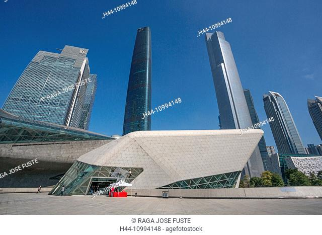 China, Guangdong Province, Guangzhou City, Wuyang New Town, Opera House, IFC Building and East Tower