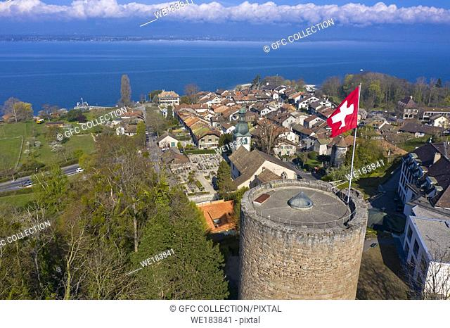 Swiss Heritage Site Hermance at Lake Geneva with the round watchtower of the medieval fortress, canton of Geneva, Switzerland