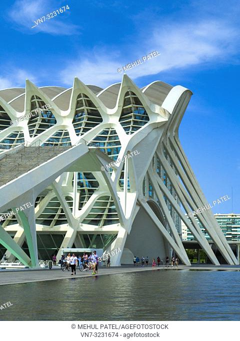 Southern entrance to the Science Museum (Museu de les Ciències) designed by architect Santiago Calatrava in the City of Arts and Sciences complex, Valencia