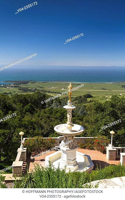 Golden statue and view from Hearst Castle, California, USA