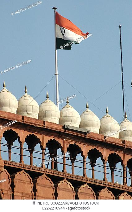 Delhi, India: the Indian flag at the Red Fort