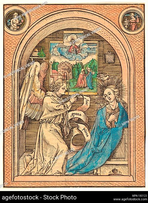 The Annunciation. Artist: Hans Wechtlin (German, Strasbourg ca. 1480/85-after 1526); Date: late 15th-early 16th century; Medium: Handcolored woodcut;...