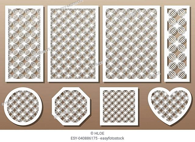 Set decorative elements for laser cutting. Geometric ornament pattern. Pattern wave lines. The ratio 1:2, 2:3, 3:4, 1:3, round, octagon, square, heart