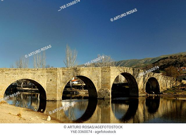 Romanesque bridge over the Alberche river in Navaluenga, Ã. vila. Spain