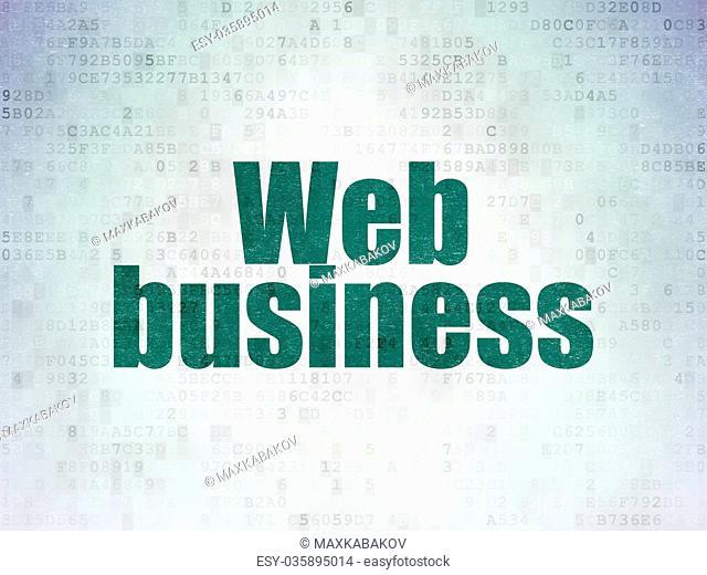 Web development concept: Web Business on Digital Data Paper background