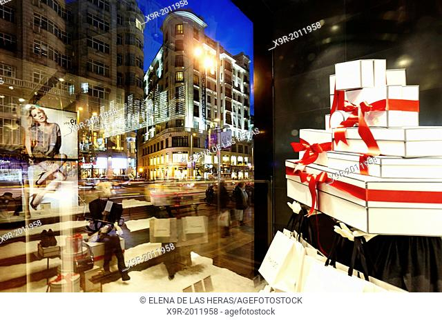 Window display in Gran Via street at Christmas time. Madrid. Spain