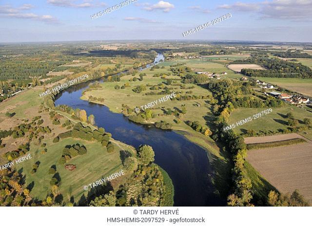 France, Loir et Cher, the Loire Pruniers en Sologne (aerial view)