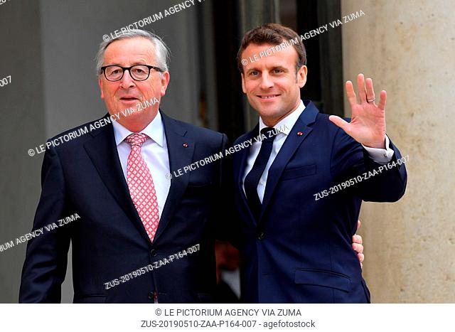 May 10, 2019 - Paris, Ile-de-France (region, France - The President of the French Republic, Emmanuel Macron receives the President of the European Commission