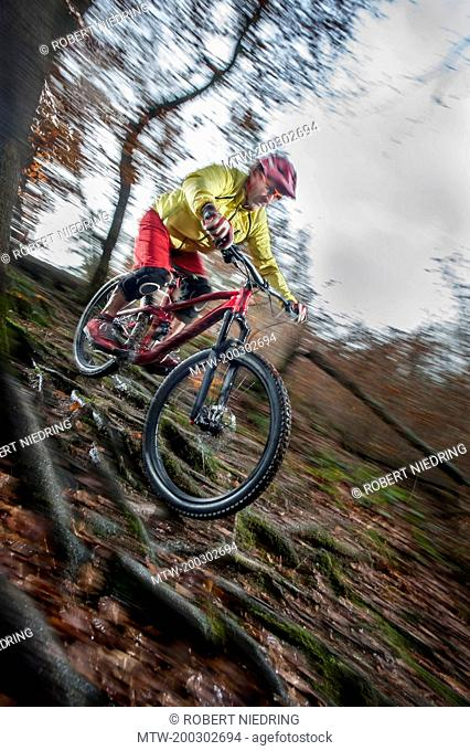 Mountain biker riding downhill in a forest, Bavaria, Germany