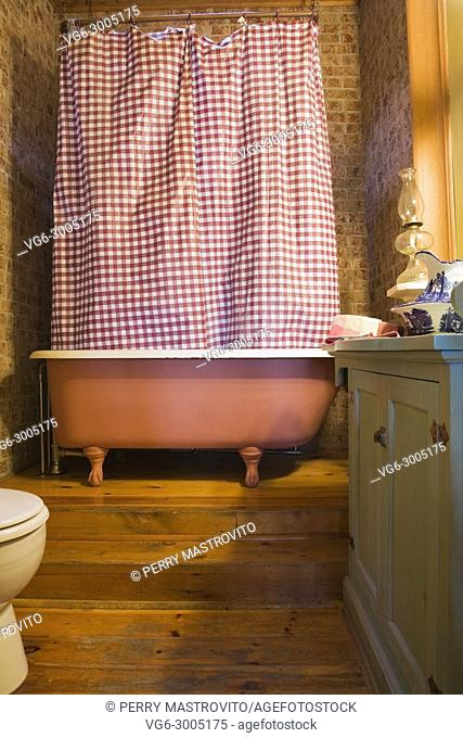 Main bathroom inside an old 1904 Victorian cottage style residential home, Quebec, Canada. This image is property released. PR0126