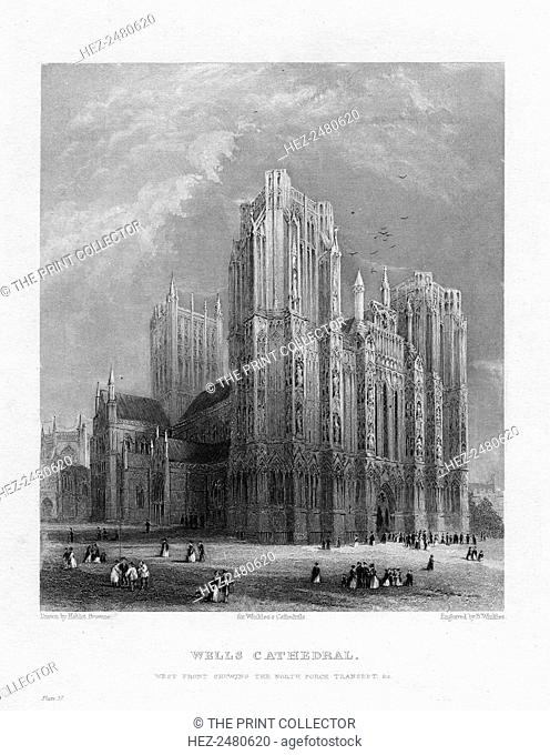 Wells Cathedral, Somerset, c1860. View of the west front showing the north porch transept. The building of Wells Cathedral was begun in 1180