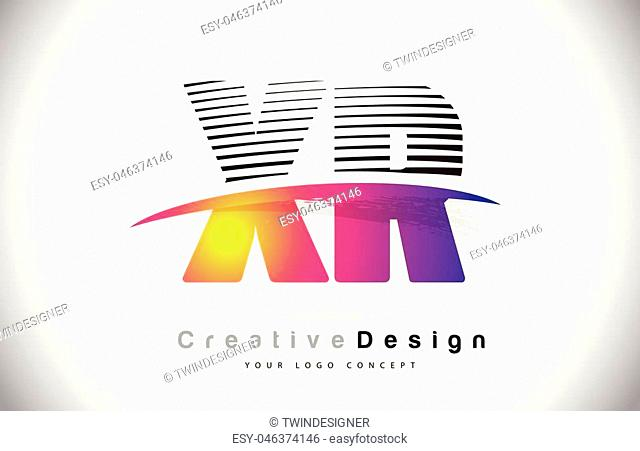 XR X R Letter Logo Design With Creative Lines and Swosh in Purple Brush Color Vector Illustration