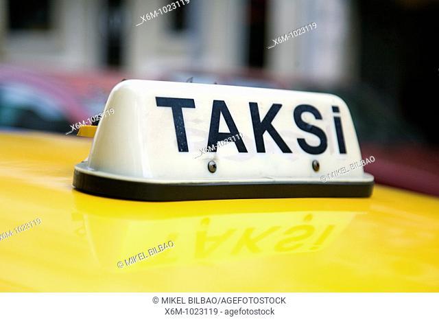 Taxi sign Istanbul, Turkey
