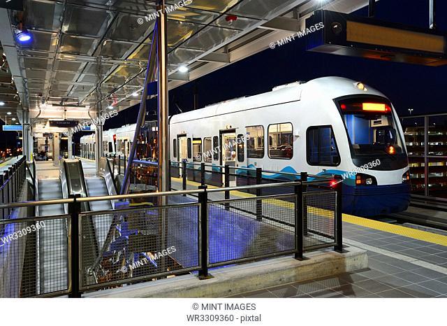 Light rail pulling into station