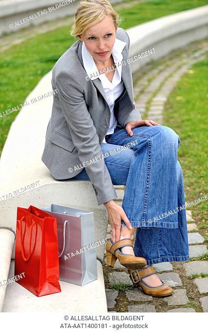 Woman having a blister