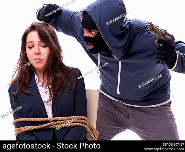 The kidnapper with tied woman isolated on white