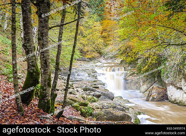 Del Cubo waterfall in Selva de Irati forest near Lodosa, Navarra, Spain