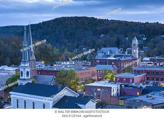 USA, New England, Vermont, Montpelier, elevated town view, dusk