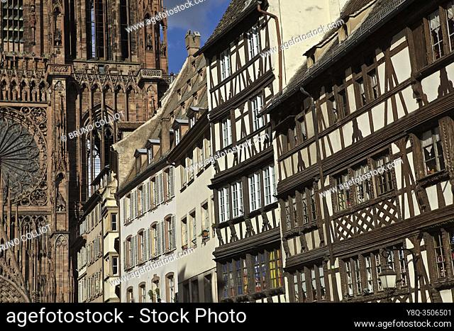 arrival by the gr 534 on strasbourg with partial view on its cathedral, bas rhin, alsace, france