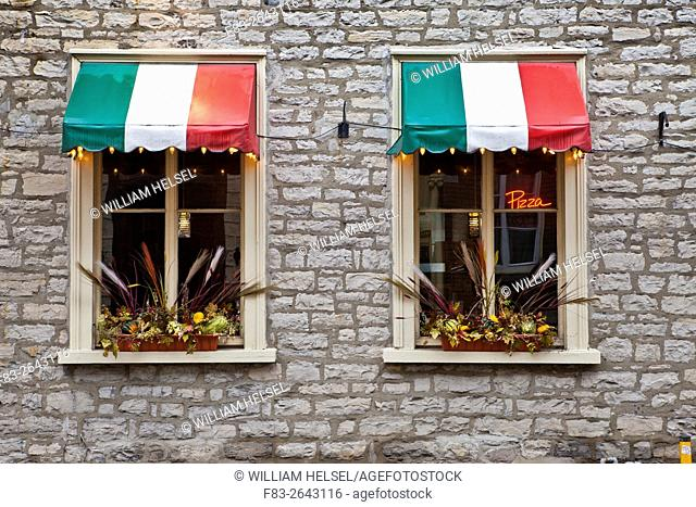 """Italian restaurant windows, Italian flag-colored awnings, neon """"""""pizza"""""""" sign, Rue Saint-Louis, Old Town Quebec City, Quebec, Canada"""