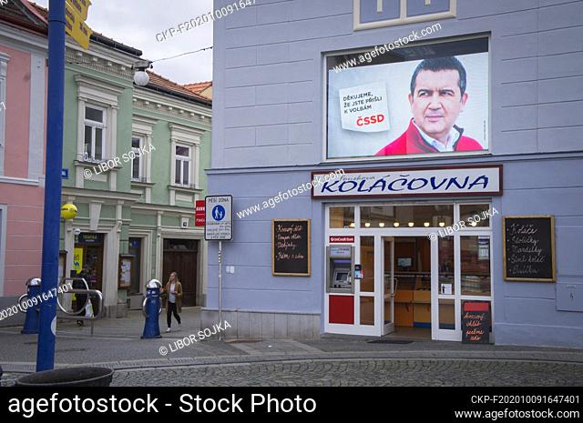 October 2-3, 2020, Czech Senate and regional elections billboard bearing Jan Hamacek and writing THANK YOU FOR COMING TO ELECTIONS, CSSD, Jindrichuv Hradec