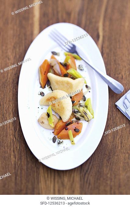 Potato dumplings with Ibental mountain cheese and nutmeg pumpkin slices