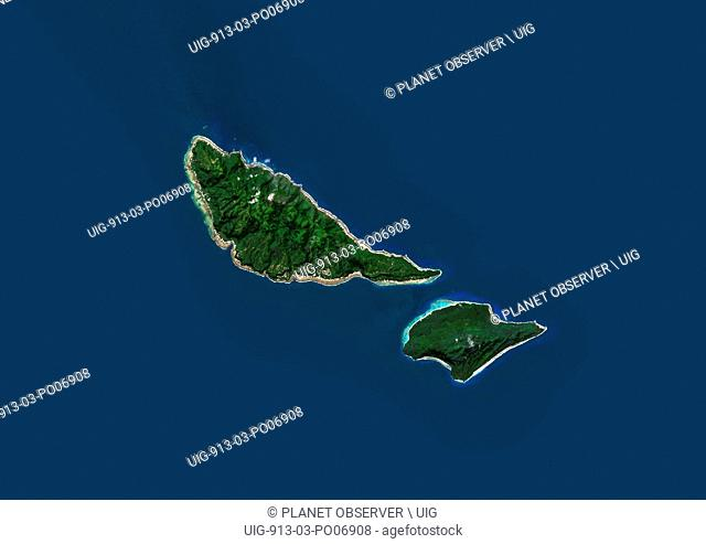 Satellite view of Futuna and Alofi Islands, part of Wallis and Futuna islands. This image was compiled from data acquired by Landsat 8 satellite in 2014