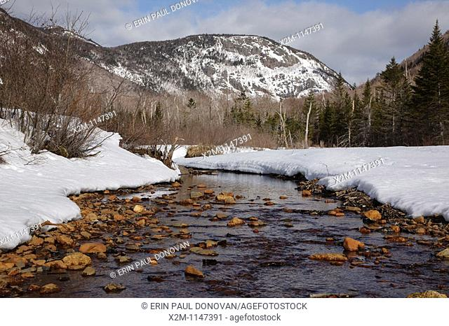 Crawford Notch State Park during the winter months  Located in the White Mountains, New Hampshire USA  Mount Willard is in the distance