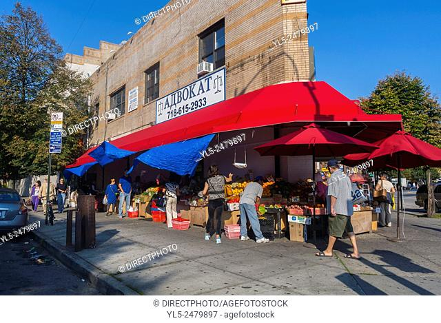 Brighton Beach, Brooklyn, New York, Russian Immigrants Neighborhood Street Scenes. Local Grocery Food Store with Awning