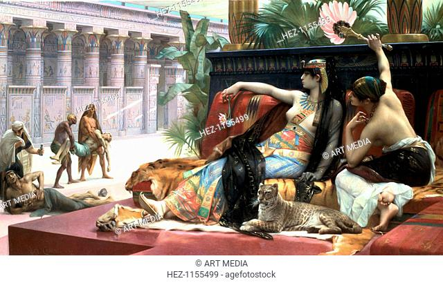 'Cleopatra testing poisons on those condemned to death', late 19th century. The Ptolemaic dynasty in Egypt, which ended with Cleopatra VII (69-30 BC)