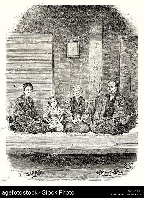 Merchants family, Tokyo, Japan. Old 19th century engraved illustration Travel to Japan by Aime Humbert from El Mundo en La Mano 1879