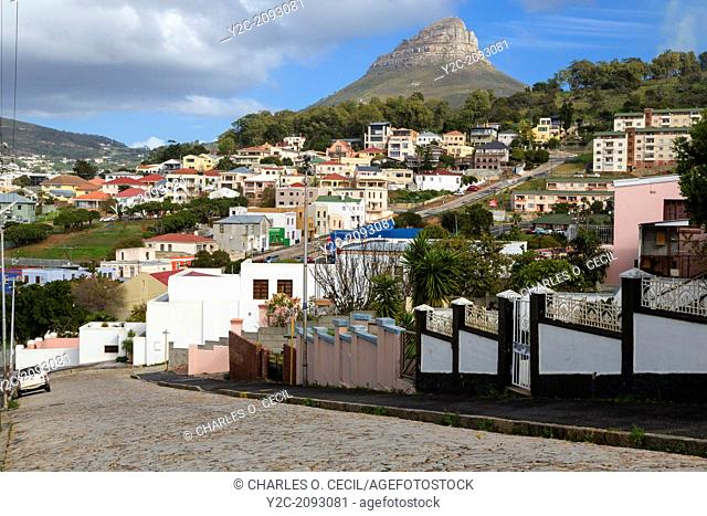 South Africa, Cape Town. Houses in the Higher Elevations of Bo-kaap. Lion's Head in the distance