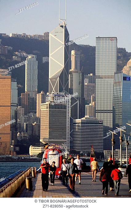 China, Hong Kong, Central District skyline, Tsim Sha Tsui Promenade, people