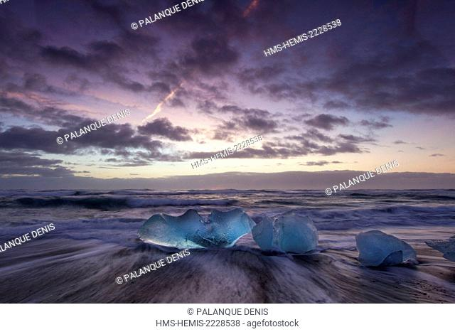 Iceland, South coast, Jökulsa beach icebergs rejected by the sea on the beach of black sand, sunset