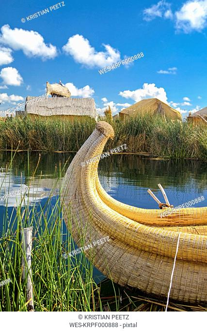 South America, Peru, Typical boat made of reed in the Lake Titicaca