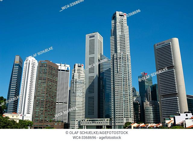 Singapore, Republic of Singapore, Asia - Singapore's skyscrapers of the Central Business District at Raffles Place tower the historic buildings along the...