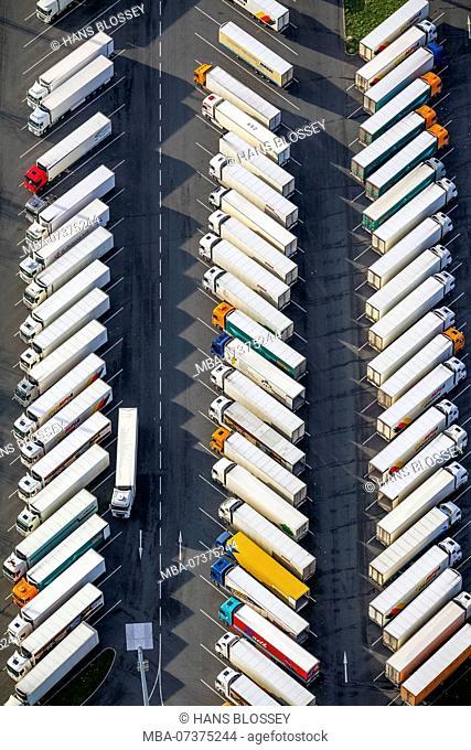 Truck terminal in front of Kaufland logistics centre near Schulte-Rödding, aerial view of Dortmund, Ruhr area, North Rhine-Westphalia