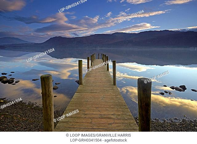 Dawn over Brandelhow jetty on Derwentwater