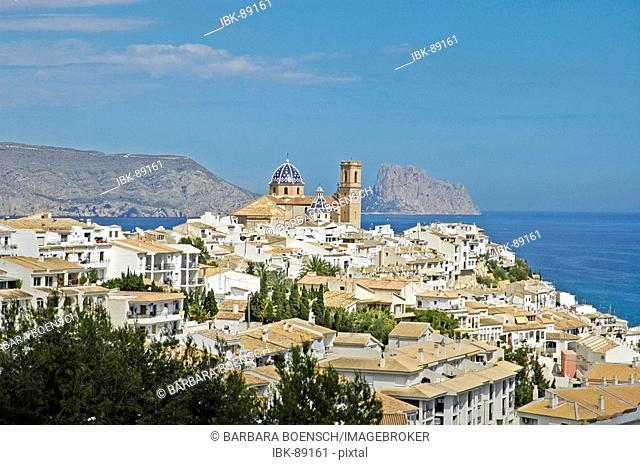 View of the city Altea with the mountain Penon de Ifach with Calpe in the background, Costa Blanca, Spain