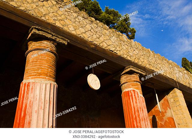 House of the Relief of Telephus, The excavations of Ercolano, Ruins of Herculaneum, was an ancient Roman town destroyed by volcan Mount Vesuvius, Ercolano