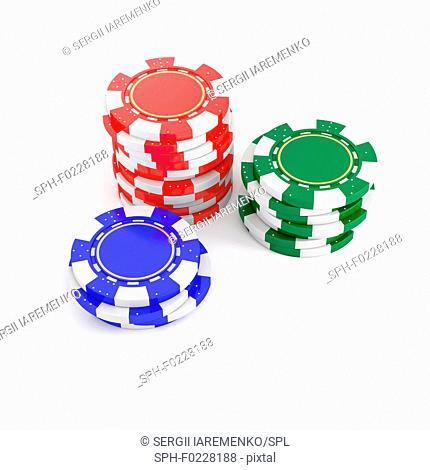 Stacks of poker chips, illustration