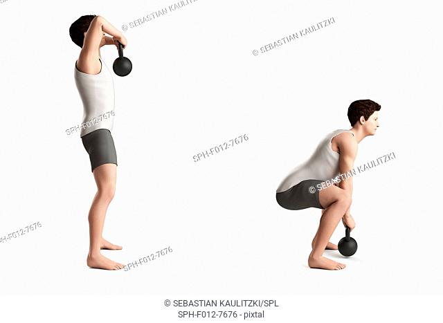 Person lifting and squatting with a kettlebell, illustration