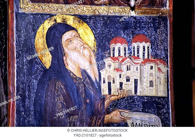 Fresco of Monk Barlaam or Varlaam Offering Model of Church to God Varlaam Monastery Meteora Thessaly Greece